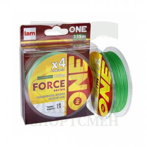 "Шнур плетеный ""I am"" №ONE Force X4 Bright-green 135м 0,14мм"